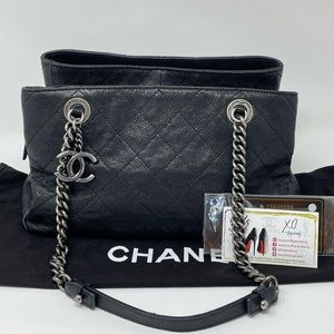 CHANEL CC Tote Iridescent Caviar Black Bag